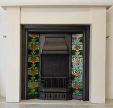 Arts and Crafts Style Stone Mantle, Cast Iron Inset +  Antique Art Nouveau Tiles