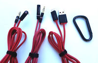 3 Headphone CABLES for Monster BEATS By Dr. Dre STUDIO, SOLO, PRO, DETOX, MIXR