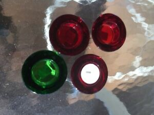 Set of 4 Crate & Barrel Heavy  -- 3 Red & 1 Green Tea Light Candle Holders