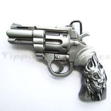 Revolver Gun w/ Skull Tattoo Metal Fashion Belt Buckle