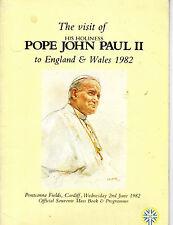 OFFICIAL SOUVENIR PROGRAMME - POPE JOHN PAUL II VISITS CARDIFF (2nd June 1982)
