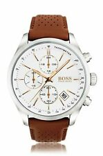 Hugo Boss HB 1513475 Grand Prix Chronograph White Dial Leather Band Men's Watch