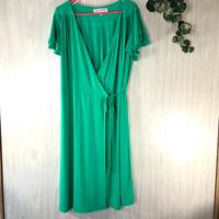 Emma & Michele Wrap Dress Women's Size 1X Green, Flutter Sleeves