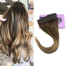 Invisible Halo Wire Human Hair Extension Balayage Brown mix Blonde #4/10/16