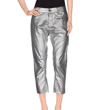 Rare Rick Owens DRKSHDW Sliver Metallic Torrence Cut Crop Jeans Size 26
