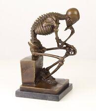 """Bronze Sculpture THINKER Skeleton 9.68"""" 4 Kg"""