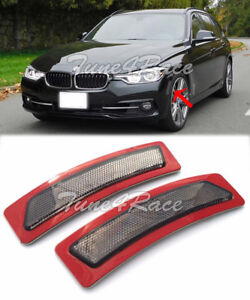For 16-18 BMW 3-Series F30 F31 Bumper Reflector Smoke Side Marker Lights Lamps