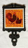 Vintage Rooster Tile Trivet Taiwan Black Cast Iron Orange Brooding Chicken Farm