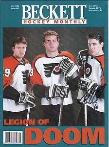 John LeClair Philadelphia Flyers Autographed Beckett Magazine 1996 W/COA A