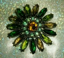 "New Os Shades of Green Signed 2"" Joan Rivers Large Flower Brooch Pin Stunning"
