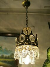 Antique VNT.  FRENCH Basket style Crystal Chandelier Light Lamp 1940's 6.in.