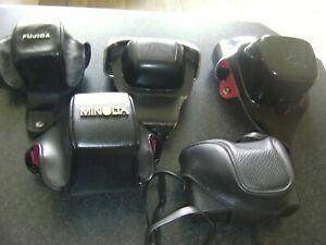 5 Vintage Camera Cases,Fujica,Braun,Pentacon,Minolta top parts only + unbranded