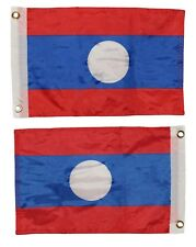 12x18 Laos Country 2 Faced 2-ply Nylon Wind Resistant Flag 12x18 Inch