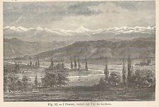A5704 I Pirenei visti dal Val de Luchon - Xilografia Antica del 1895 - Engraving