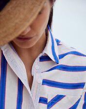 Joules Womens Lorena Stripe Longline Woven Shirt - White Blue Stripe