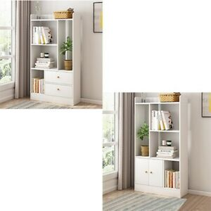 White Cube 5 Tier Wooden Bookcase Shelving Display Storage Shelf Unit Bookshelf