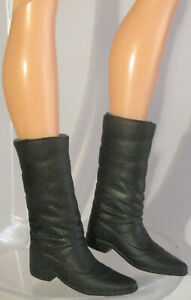 SHOES BARBIE 1 MODERN CIRCLE MELODY FAUX LEATHER BELOW KNEE BLACK BOOTS