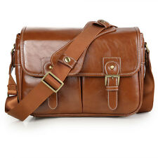 LEATHER Waterproof Vintage PU DSLR Camera Bag Shoulder Bag Messenger Lens Case