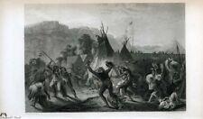 Karl Bodmer Original 1800s Engraving Assiniboine-Cree Attack