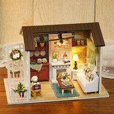DIY Doll House LED Light Music Furniture 3D Wooden Happy Time Dollhouse Kid Gift