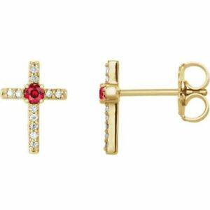 Chatham Created Ruby & .06CT Diamond Cross Earrings In 14K Yellow Gold