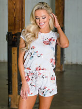 Hot Selling Floral Short Sleeve Rompers - White