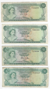 1974 $1 Central Bank of the Bahamas Pick #35 (Lot of 4)