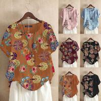 ZANZEA Women Summer Retro Floral Cotton Casual Stitching Top Tee Shirt Blouse US