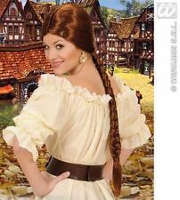 Ladies Long Brown Plait Wig Maid Marrion Medieval Princess Dame Fancy Dress