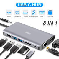 8in1 USBC Multi-function Dock Station 3.5mm Jack Dual USB3.0 HDMI/VGA Hub AC2166