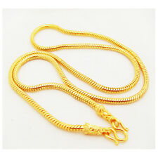 22K 23K 24K THAI BAHT YELLOW Gold Plated NECKLACE Jewelry  24 inch 60 Grams 4 mm