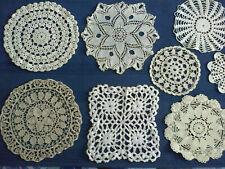 Lot 12 napperons plusieurs formes dentelle/crochet blanc/beige/écru/ancien