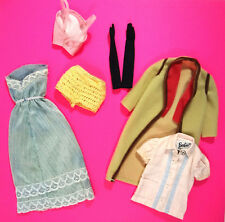 Barbie Doll Clothes Beige Coat Blue Gown Pink Blouse Shorts Gloves Vintage 1970s