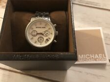 Michael Kors Ritz Chronograph Crystal Stainless Steel Women's Watch-silver Tone
