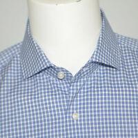 Mint HUGO BOSS Jason Slim Fit Easy Iron Blue Plaid Cotton Dress Shirt 16 - 35