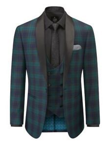 "Skopes Sanchez Tailored Fit Suit Jacket Green Navy Check Tartan Size 42"" Chest"