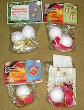 RARE VTG 1970s 4 WALCO BEADED CHRISTMAS ORNAMENT KITS MIP PINK PRINCESS SPARKLE