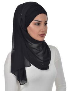 BTS-1 Fertig Kopftuch Praktisch Hijab Bone Türban Esarp Sal Tesettür Khimar
