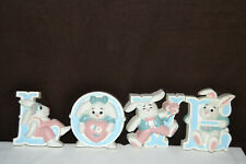 1992 Burwood Products Homco Home Interior Bunny Rabbits Love Wall Plaques #3280