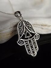 "Sterling Silver 925 Hamsa Hand of Fatima Pendant 16/18/20"" Necklace Gift Boxed"