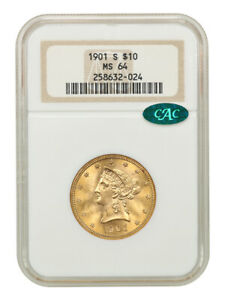 1901-S $10 NGC/CAC MS64 - Liberty Eagle - Gold Coin