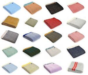 Herringbone Fishbone 100% wool bed blanket sofa throw travel rug British Made