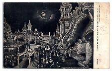 1906 Luna Park at Night w/Gargoyles, Coney Island, NY Hand-Glittered Postcard