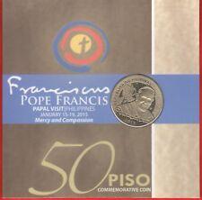 "Philippines 50 piso 2015 ""Pope Francis Visit"" CoinCard UNC"