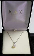 Pearl Sterling Silver Pendant Necklace W Chain 18 In Kay Jeweler