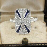 Art Deco 14K White Gold FN 1.50 CT Round White Diamond Wedding Ring 925 Silver