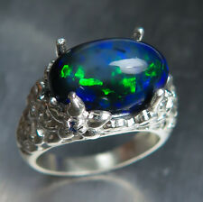 5.9ct Natural Black Welo Ethiopian opal & sapphires 925 sterling silver ring