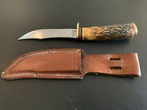 Vintage Schrade USA 497 Bone Fixed Blade Knife Hunting Skinning Bowie Sheath