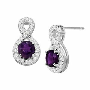 0.90Ct Round Cut  Amethyst Infinity Drop Stud Earrings 14k White Gold Finish