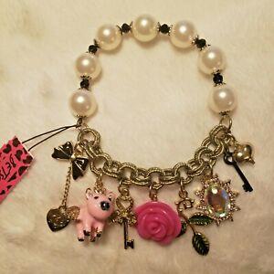 Betsey Johnson  Pink Piggy Ribbon Rose Pearl Bracelet